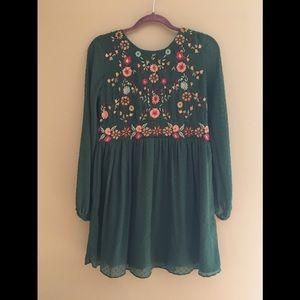 Zara embellished dress boho forest green